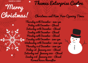 Christmas and New Year 2021 Opening Times.